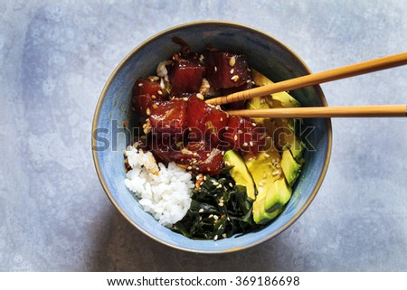 Traditional Hawaiian poke tuna dish - stock photo