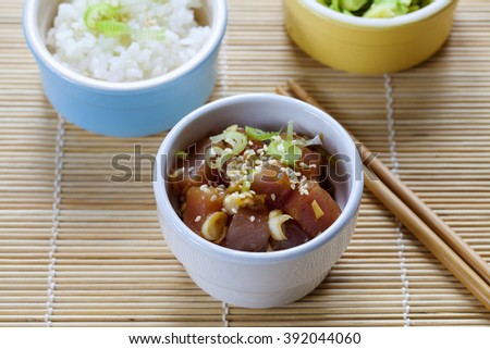 Traditional Hawaiian poke tuna dish