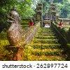 Traditional Hindu Bali Temple in Jungle near Ubud Indonesia - stock photo