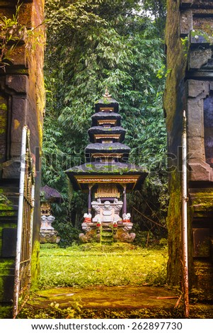 Traditional Hindu Bali Temple in Jungle near Ubud Indonesia - stock photo
