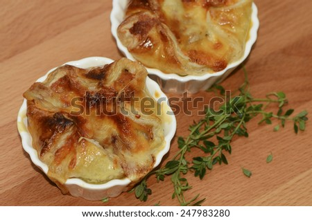 Traditional home baked beef and mushroom pie in small size /Homemade beef pie / Small size for light eater, good for snack or breakfast - stock photo