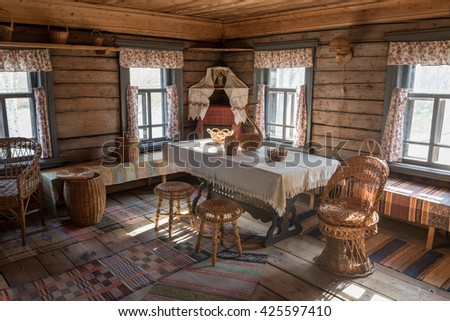 Traditional home interior of russian ukraine village