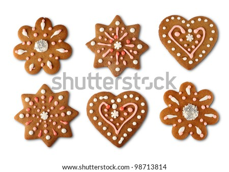 Traditional home made Christmas cookie ginger breads - stock photo
