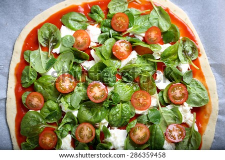 Traditional home made thin crust pizza with spinach, tomato, and mozzarella - stock photo
