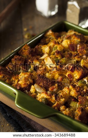 Traditional Homemade Cornbread Stuffing for the Holidays - stock photo
