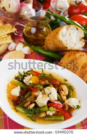 Traditional homemade soup with vegetable and chicken meat