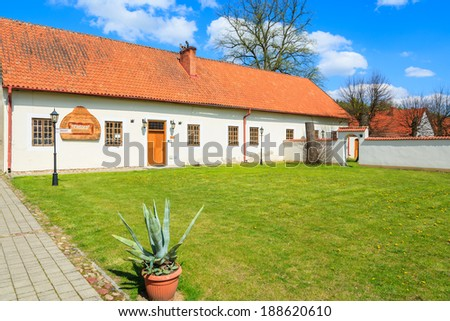 Traditional house buildings of Camaldolese monastery in Rytwiany, Poland - stock photo
