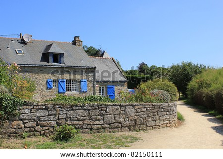 traditional house in Brittany - stock photo