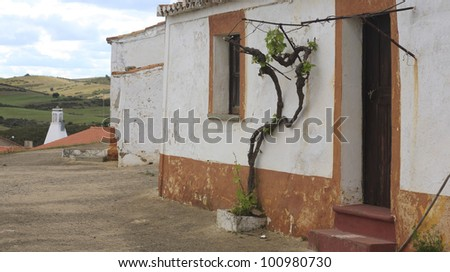 "traditional house in ""Monte Sim�µes"" Alentejo Portugal - stock photo"