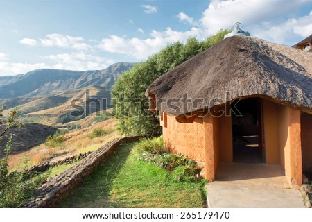 Traditional house in mountains. Shot in Liphofung, Lesotho.