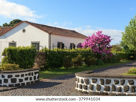 Traditional house in Pico Island, Azores, Portugal - stock photo
