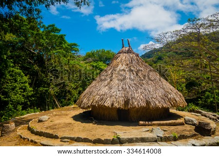 Traditional house of Kogi people, indigenous ethnic group in Tayrona National Park, Santa Marta, Colombia