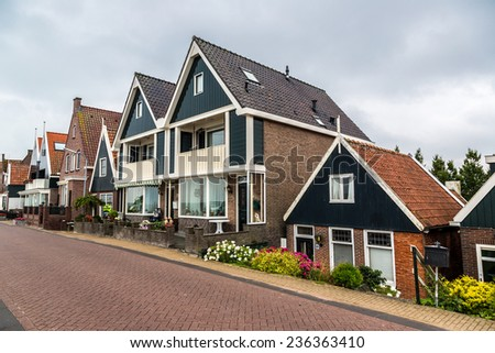 Traditional houses in Holland town Volendam, Netherlands