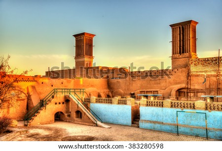 Traditional houses in Yazd with windcatcher ventilation towers - Iran