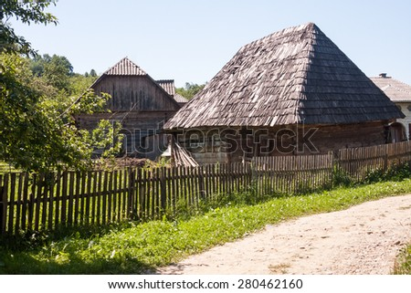 Traditional houses, objects and wooden details in Maramures, Romania