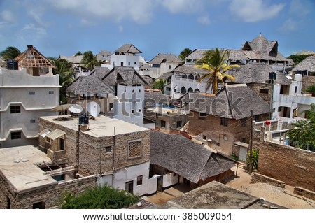Traditional houses of Shela, Lamu island, Kenya - stock photo
