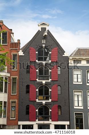 Traditional houses of the Amsterdam, Netherlands