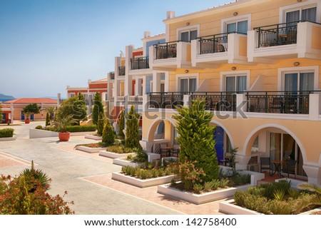 traditional houses on greek island of Kos - stock photo