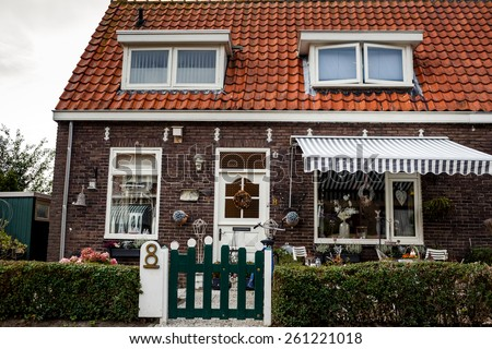 Traditional houses on the island of Marken, Netherlands