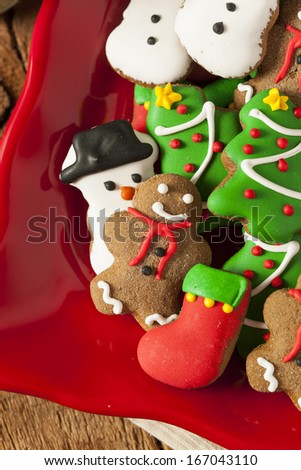 Traditional Iced Gingerbread Christmas Cookies with Trees and Snowmen
