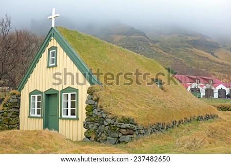 Traditional icelandic church on Iceland - stock photo