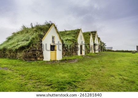 Traditional Icelandic Turf Houses in West Iceland - stock photo