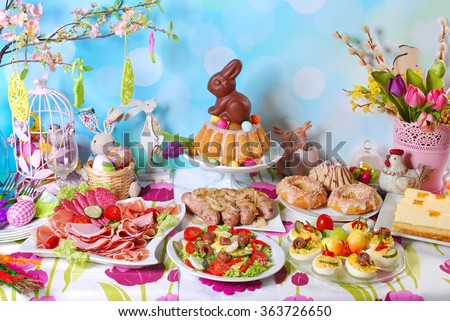traditional in Poland easter breakfast on festive table - stock photo