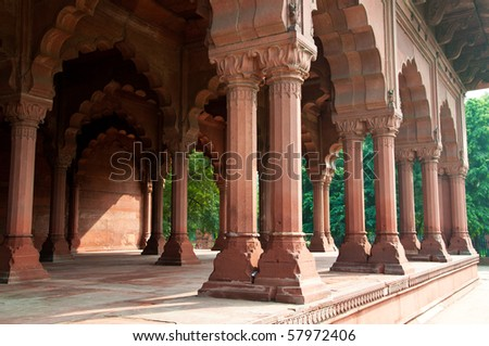 Traditional Indian Architecture at the Red Fort in Delhi, India.