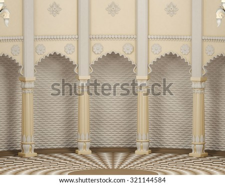 Traditional Indian Column Arc Gallery - stock photo