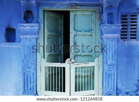 Traditional indian door in Old Delhi, India - stock photo