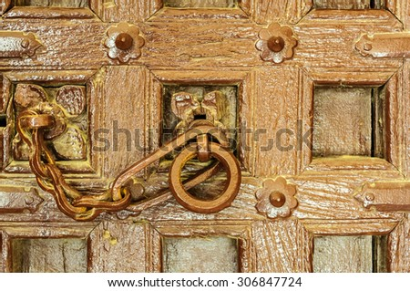 Traditional Indian door knocker Golden Fort of Jaisalmer, Rajasthan India with copy space - stock photo