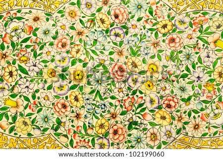 Traditional Indian Floral Design of Spring Flowers - stock photo
