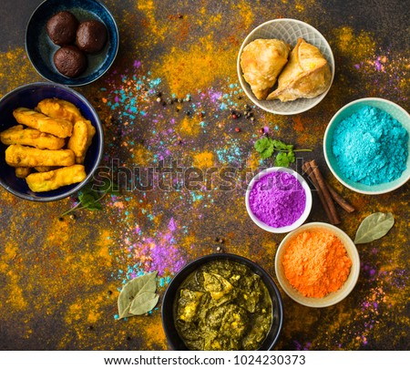 Traditional Indian food Holi colours powder rustic background. Indian Holi holiday. Indian & Traditional Indian Food Holi Colours Powder Stock Photo (Royalty ...