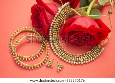 Traditional Indian Gold Jewelry Red Roses Stock Photo Image