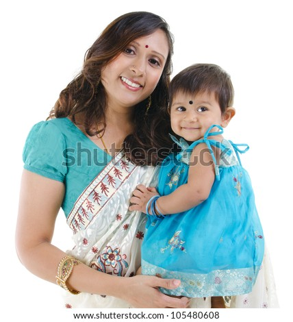 Traditional Indian mother and her baby girl isolated on white background - stock photo