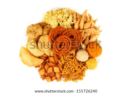 Traditional indian snack platter isolated on white. - stock photo