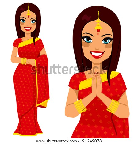Traditional Indian woman holding hands in prayer position and full body pose - stock photo