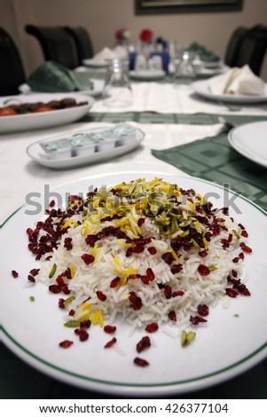 Traditional Iranian rice food - stock photo