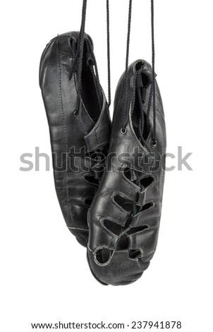 traditional irish dance soft shoes over white - stock photo