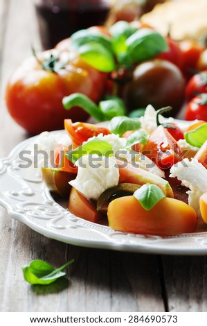 Traditional italian antipasto caprese with mozzarella, selective focus