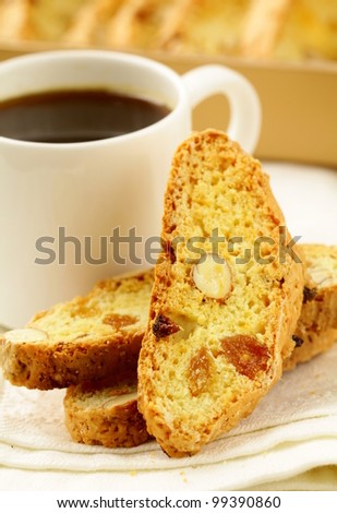 traditional Italian biscotti cookies with almonds - stock photo