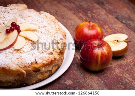 Traditional Italian cake with ricotta cheese and sour apples. - stock photo