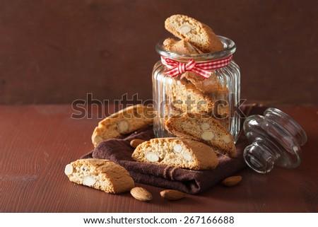 traditional italian cantuccini cookies in glass jar  - stock photo