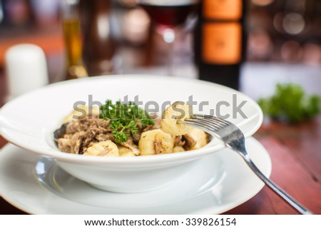 Traditional Italian dishes - gnocchi with duck - stock photo
