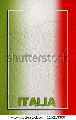 Traditional Italian flag on blank frame and grunge background - stock photo
