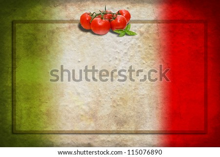 Traditional Italian flag with tomatoes and basil on blank frame - stock photo