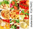 Traditional italian food collage - stock photo