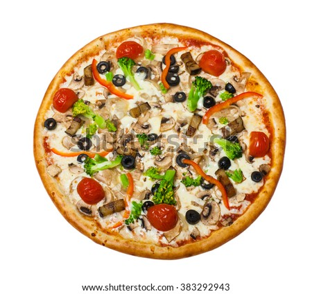 traditional Italian food: Vegetarian pizza with mushroom isolated on white background
