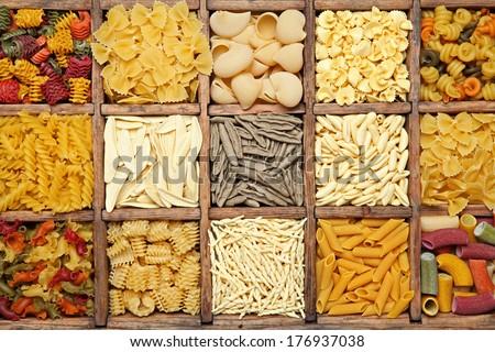 Traditional Italian pasta background. - stock photo
