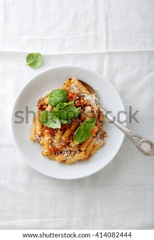 traditional italian pasta, food top view - stock photo